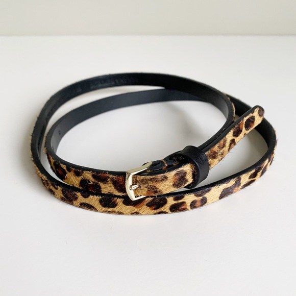 Banana Republic Calf Hair Leopard Skinny Belt